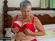 Full-bosomed granny misses cock sometimes and uses glass dildo to quench thirst for sex 8