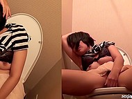 Vigorous masturbation made Japanese roll her eyes and reach the best orgasm in her life 10