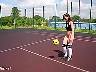 Experienced football player Jeny Smith has better ball control when her pussy is naked 10