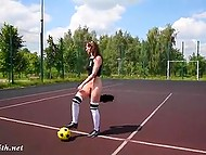 Experienced football player Jeny Smith has better ball control when her pussy is naked 11