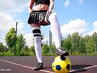 Experienced football player Jeny Smith has better ball control when her pussy is naked