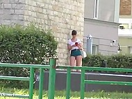 Attractive minx Jeny Smith walks by Russian streets without panties under extremely short skirt 10