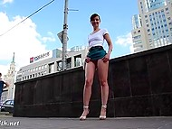Attractive minx Jeny Smith walks by Russian streets without panties under extremely short skirt 5
