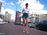 Attractive minx Jeny Smith walks by Russian streets without panties under extremely short skirt