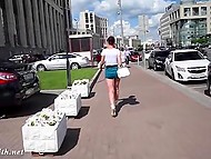 Attractive minx Jeny Smith walks by Russian streets without panties under extremely short skirt 7