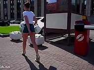 Attractive minx Jeny Smith walks by Russian streets without panties under extremely short skirt 8