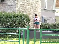 Attractive minx Jeny Smith walks by Russian streets without panties under extremely short skirt 9