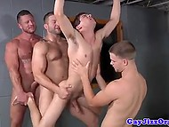 Muscular gays let young twink suck their boners before impaling his asshole by turns