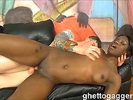 Dark-skinned whore came to casting and was roughtly fucked there and profusely cummed 11