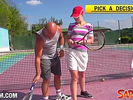Red-haired dame knows how to go anal and suck penis better than to play tennis 4