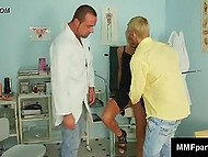 Doctor didn't stop sucking penis of guy who buried face in classy blonde's tasty pussy 7