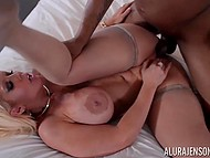 White-haired honey has picked up black beau with huge dick and now she has fun with him 7
