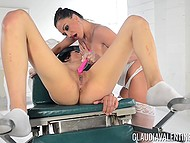 Women play gynecologist and patient fondling clitoris with tender tongue and vibrator 11