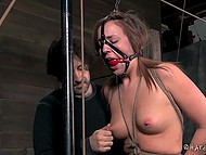 Trimmed pussy of Maddy Oreilly walked on the rope with knots from one end to the other thanks to power of will 10