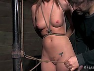 Trimmed pussy of Maddy Oreilly walked on the rope with knots from one end to the other thanks to power of will 11