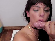 Admirable brunette with slutty face gives deepthroat blowjob to receive sperm mask 11