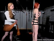 Dominant dame with tough face mercilessly slapped red-haired captive and took electric toy 10