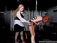 Dominant dame with tough face mercilessly slapped red-haired captive and took electric toy 11