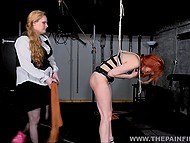 Dominant dame with tough face mercilessly slapped red-haired captive and took electric toy 6
