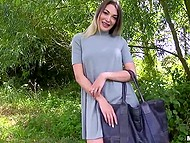 Classy British babe could be a model but she was paid for blowjob and sex in the forest 3