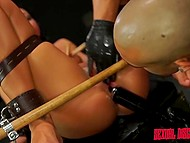 Bounded brunette sucked Latin boy's dong sitting on fucking machine and he treated bald gash 7