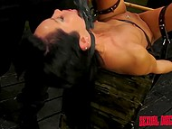 Bounded brunette sucked Latin boy's dong sitting on fucking machine and he treated bald gash 9