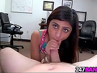 Buddy gives big-breasted Arab Mia Khalifa a ride on rigid fuckstick in his office 4