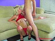 Blonde in red fishnet lingerie is fond of giving blowjob and desires to suck someone's cock 8