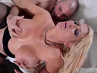 While US military personnel are stationed around the world, stacked Alura Jenson is having sex with bristly soldier 11