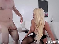 While US military personnel are stationed around the world, stacked Alura Jenson is having sex with bristly soldier 5