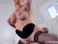 While US military personnel are stationed around the world, stacked Alura Jenson is having sex with bristly soldier 7