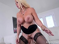 While US military personnel are stationed around the world, stacked Alura Jenson is having sex with bristly soldier 8