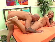 Bald stallion fucked splendid partner's smooth pussy and slushed feet with sticky cum 3