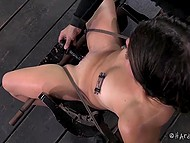 Dominating man put clamps on nipples of captive with gagged mouth and then came back with some toys 7