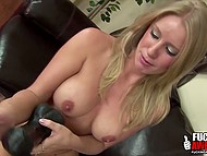 Frolicsome blonde replaced light bulb with giant dildo and continued to masturbate 8