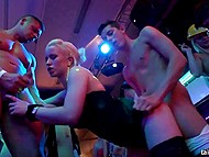 Athletic strippers and scorching chicks organized sex party at the nightclub in honor of Labor Day