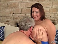BBW lover was staring at massive knockers when interlocutor noticed it and read his mind 4