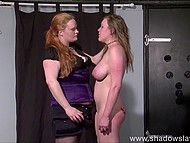 Red-haired tough dominator was kicking and beating poor girl in camera flashlights 4