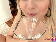 Glass filled with fresh seminal fluid was for blonde cock lover more delicious than Martini 11