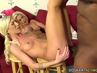 Bright-haired lass and stepmom called dark fitness instructor and he stretched their pussies with big schlong