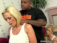 Bright-haired lass and stepmom called dark fitness instructor and he stretched their pussies with big schlong 4