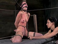 Dominating gal put pins on bounded captive's body, hit with scourge and used powerful vibrator 7