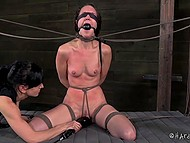 Dominating gal put pins on bounded captive's body, hit with scourge and used powerful vibrator 9