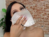 Fetching brunette Ariana Marie gives a handjob and makes operator's penis cum on her pretty face 10