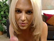 White-haired Jeanie Marie took only a cigarette in mouth and serviced dick using skilled hands 7