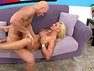 Bald guy picked up cool blonde that he fucked hardly and came all over her titties 11