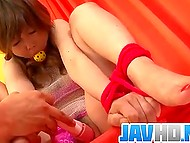 Man tied up and gagged Japanese girl before taking up to kneading her fluffy with vibrator 8