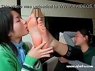 Chinese girl licks beautiful feet without stopping and making its hostess moan with pleasure 7