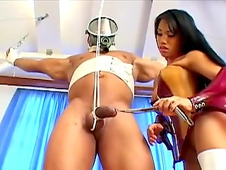 Thai mistress in white high boots untied muscular captive and let him bong her fervently