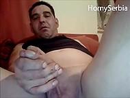 Мужичок из Сербии наяривает свой увесистый фаллос и кончает перед вебкой 6